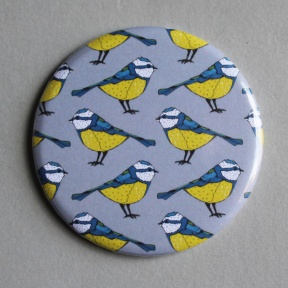 Blue Tit Pattern Pocket Mirror
